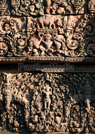 carvings in the walls of the