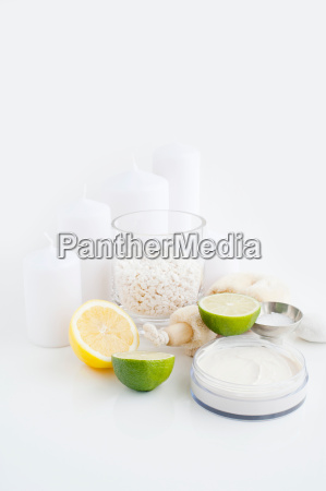 face cream lemon lime and candles