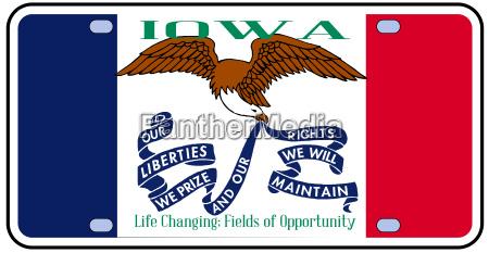 iowa flag license plate