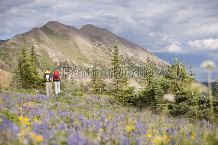 couple hiking trail 403 in the