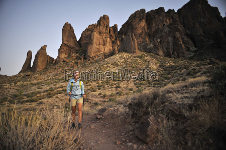 female backpacker hiking apache junction arizona