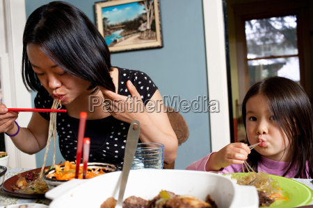 mother and daughter eating meal