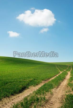 tyre tracks through fields under blue