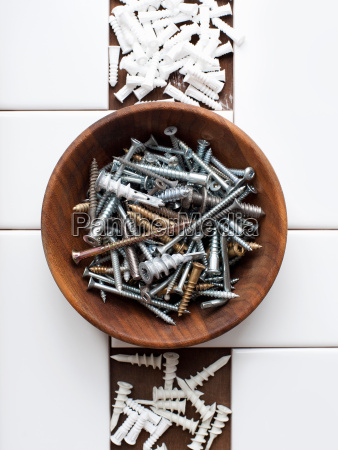 still life of screws and nails