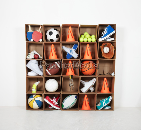 cardboard box lockers filled with sports