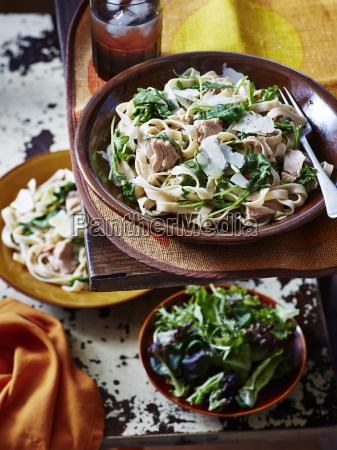 still life of tuna parmesan pasta
