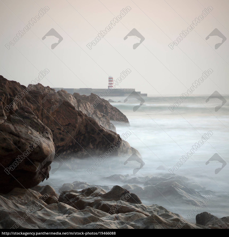 rocky, coastline, at, dusk - 19466088
