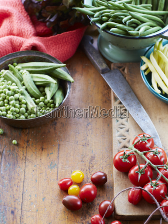 still life of fresh vegetables with
