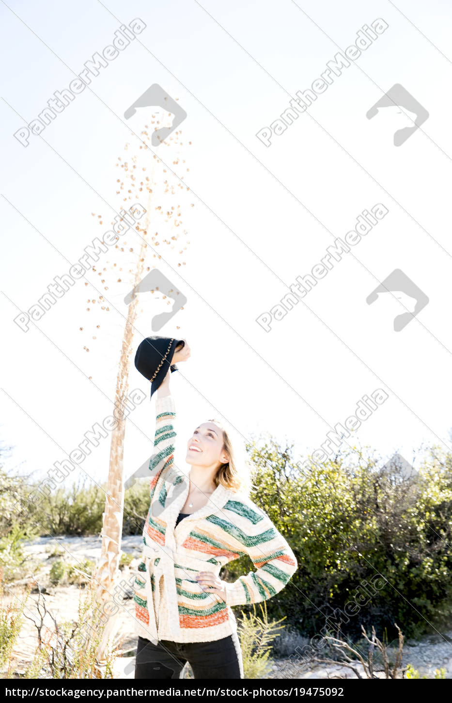 young, woman, hand, on, hip, , arms - 19475092