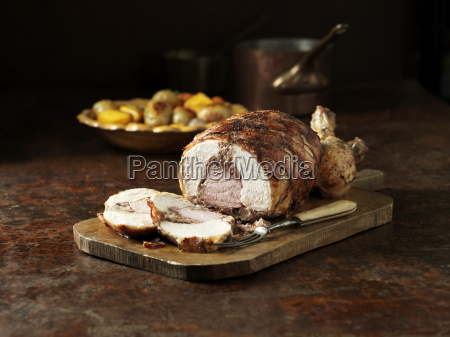 carved roast chicken and gammon