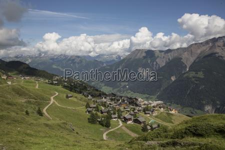 view of village in valley bettmeralp