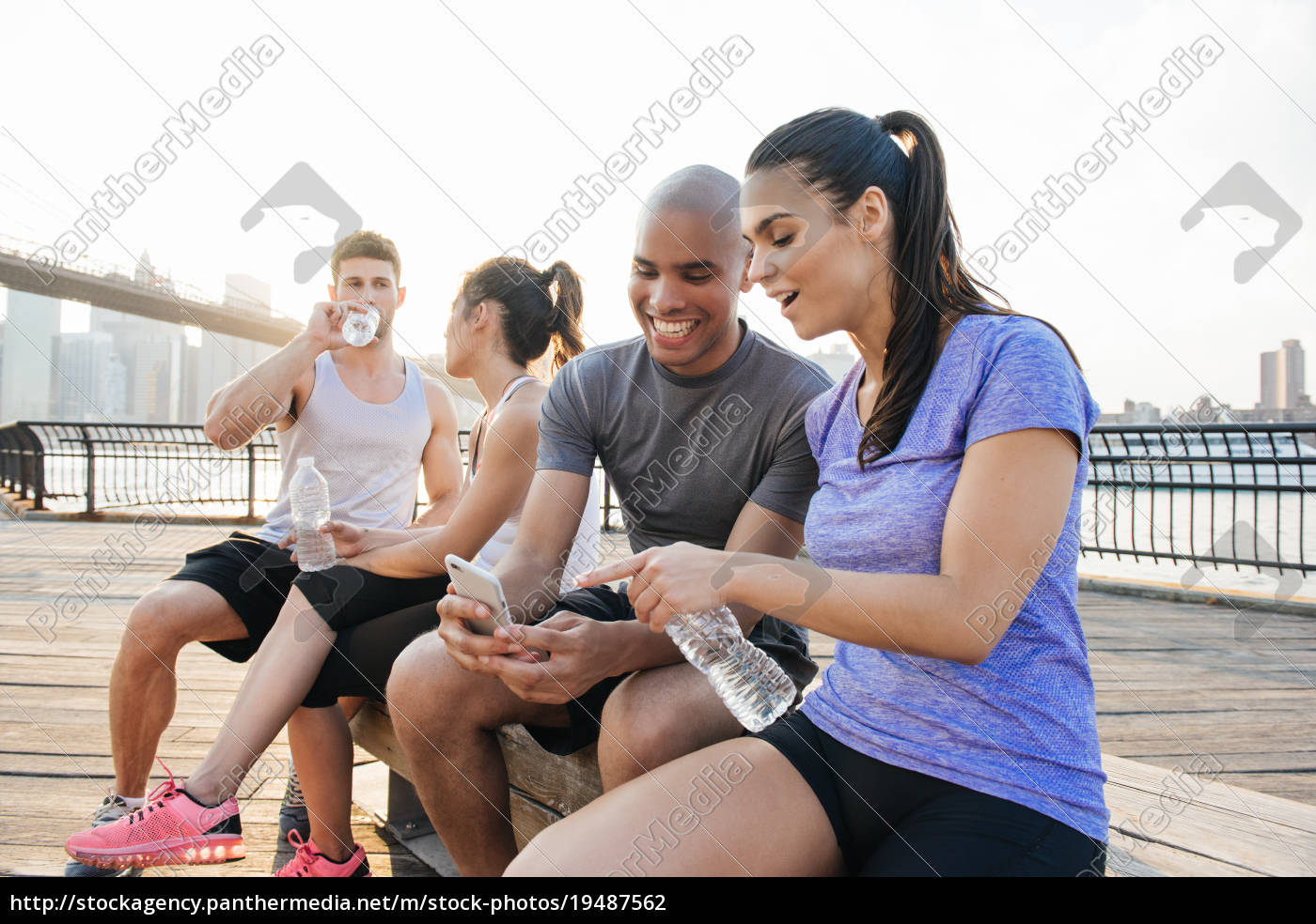 four, young, adult, running, friends, on - 19487562