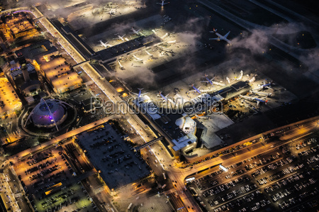 high angle view of airport illuminated