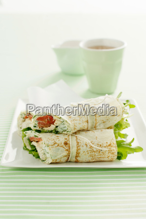 plate of chicken wraps