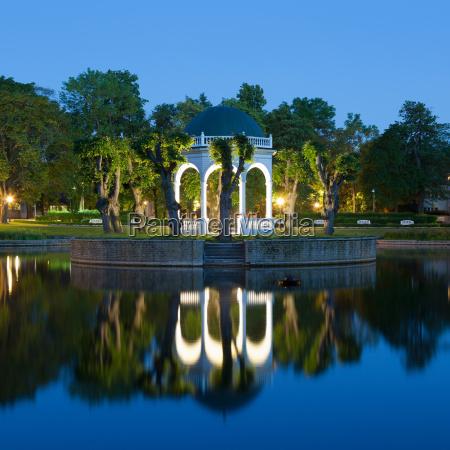 park gazebo lit up at night