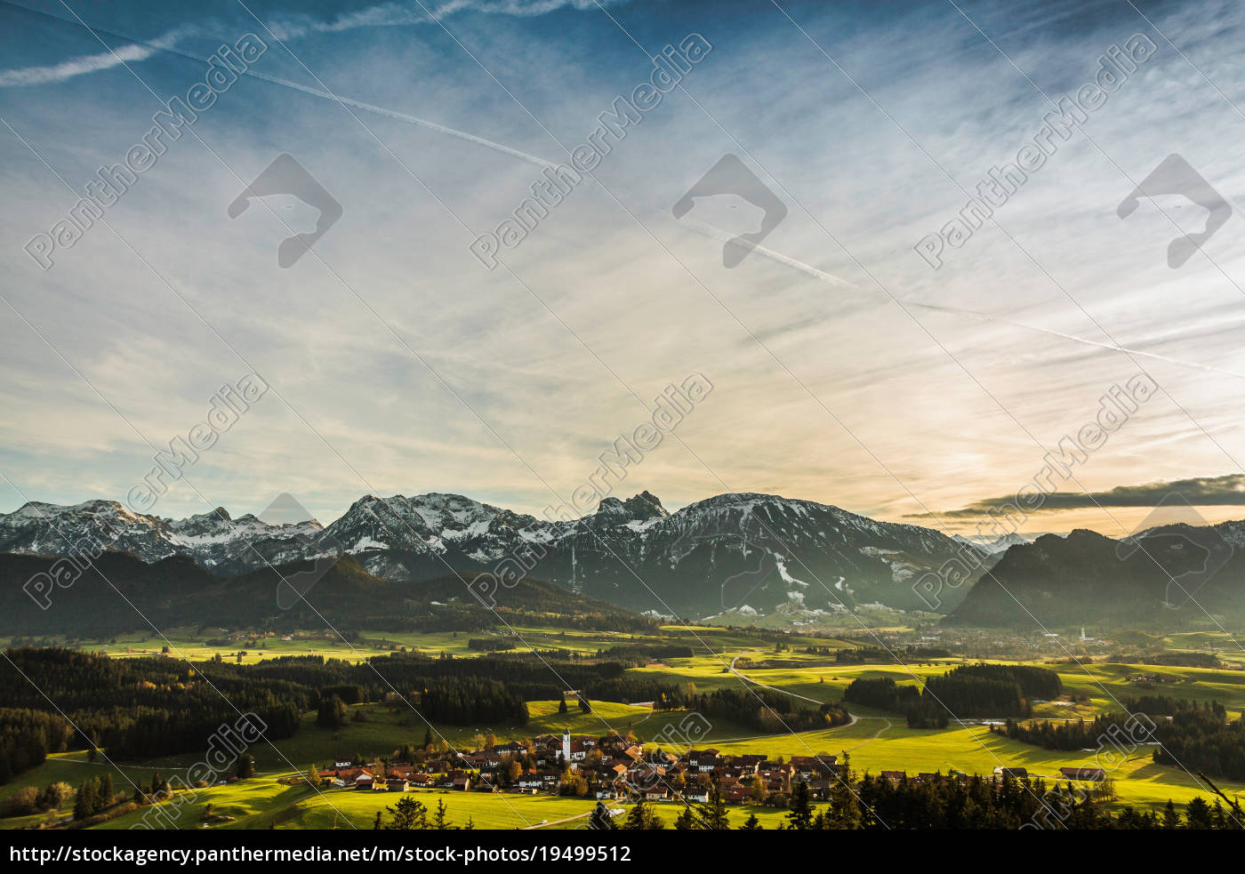 aerial, view, of, village, and, mountains - 19499512