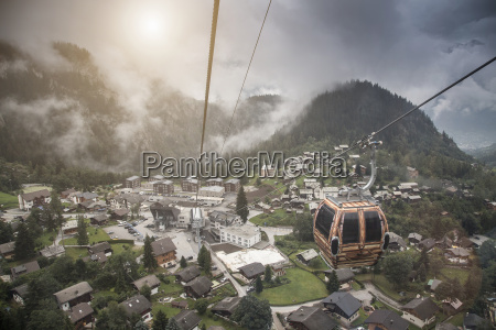 high angle view of village and
