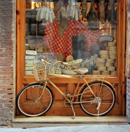 a bicycle stood in front of