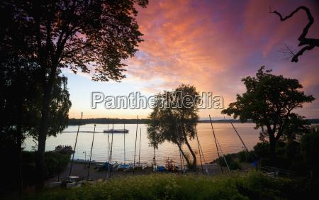 sunset sky over rural lake