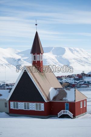 view of traditional church longyearbyen svalbard