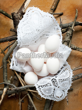 still life with nest of eggs