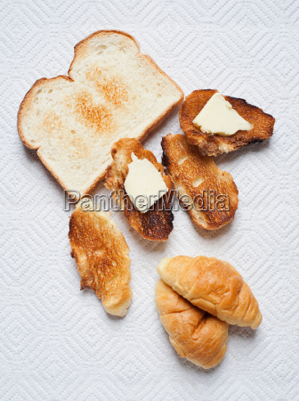 still life with toasted sliced bread
