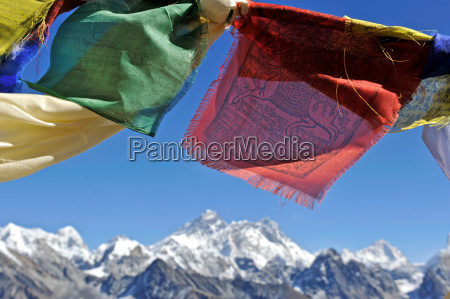 tibetan prayer flags with views of