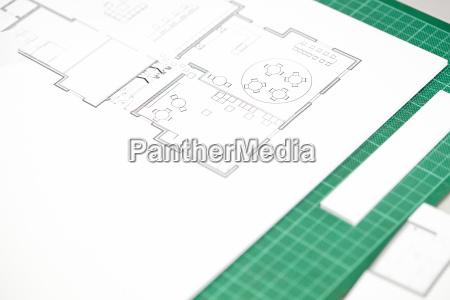 close up of interior design blueprint