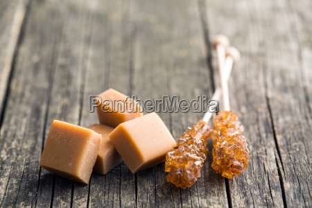 brown sugar crystals on stick and