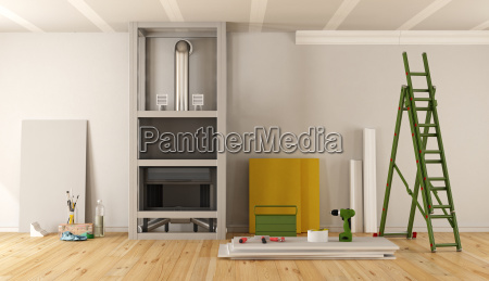 home renovation with fireplace