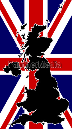uk map silhouette and flag