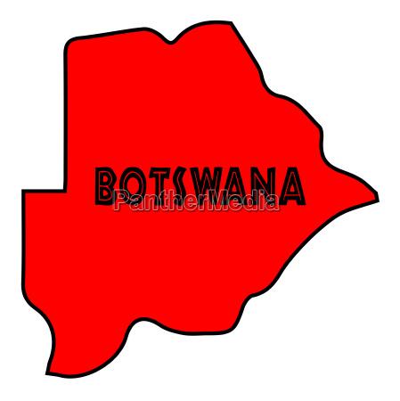botswana silhouette map
