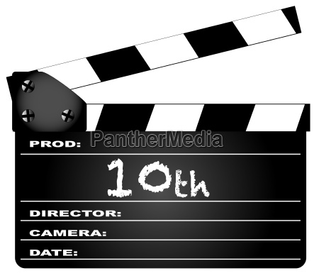 10th year clapperboard