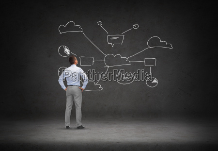 businessman looking at cloud computing scheme