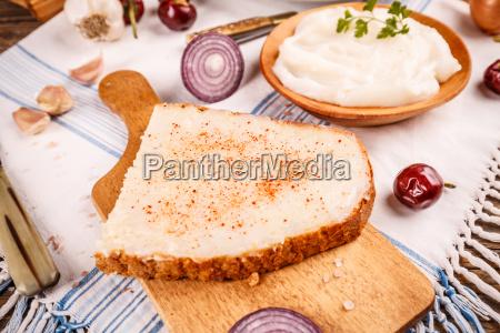 lard spread on home baked bread