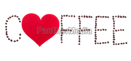 coffeebeans text with heart on white