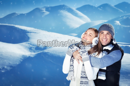 happy couple on winter vacation