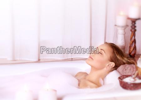 calm female at spa