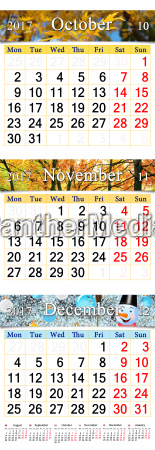 calendar for october november and december
