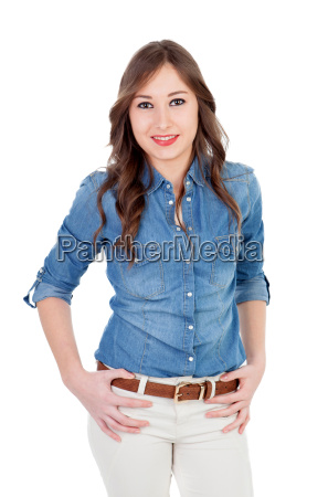 pretty girl with denim shirt