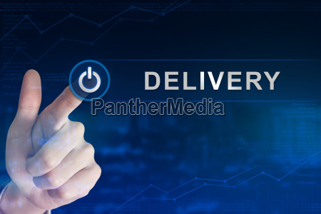 business hand clicking delivery button