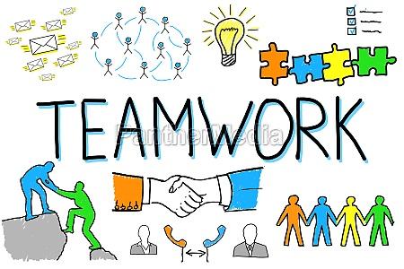 illustrative diagram of teamwork concept