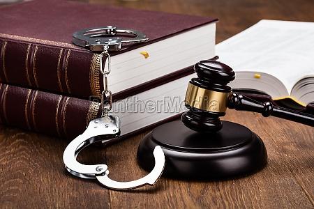 law equipment on wooden desk