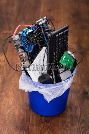 hardware equipment in dustbin