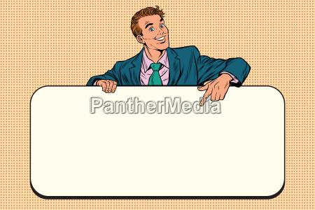 smiling businessmen presenting empty board