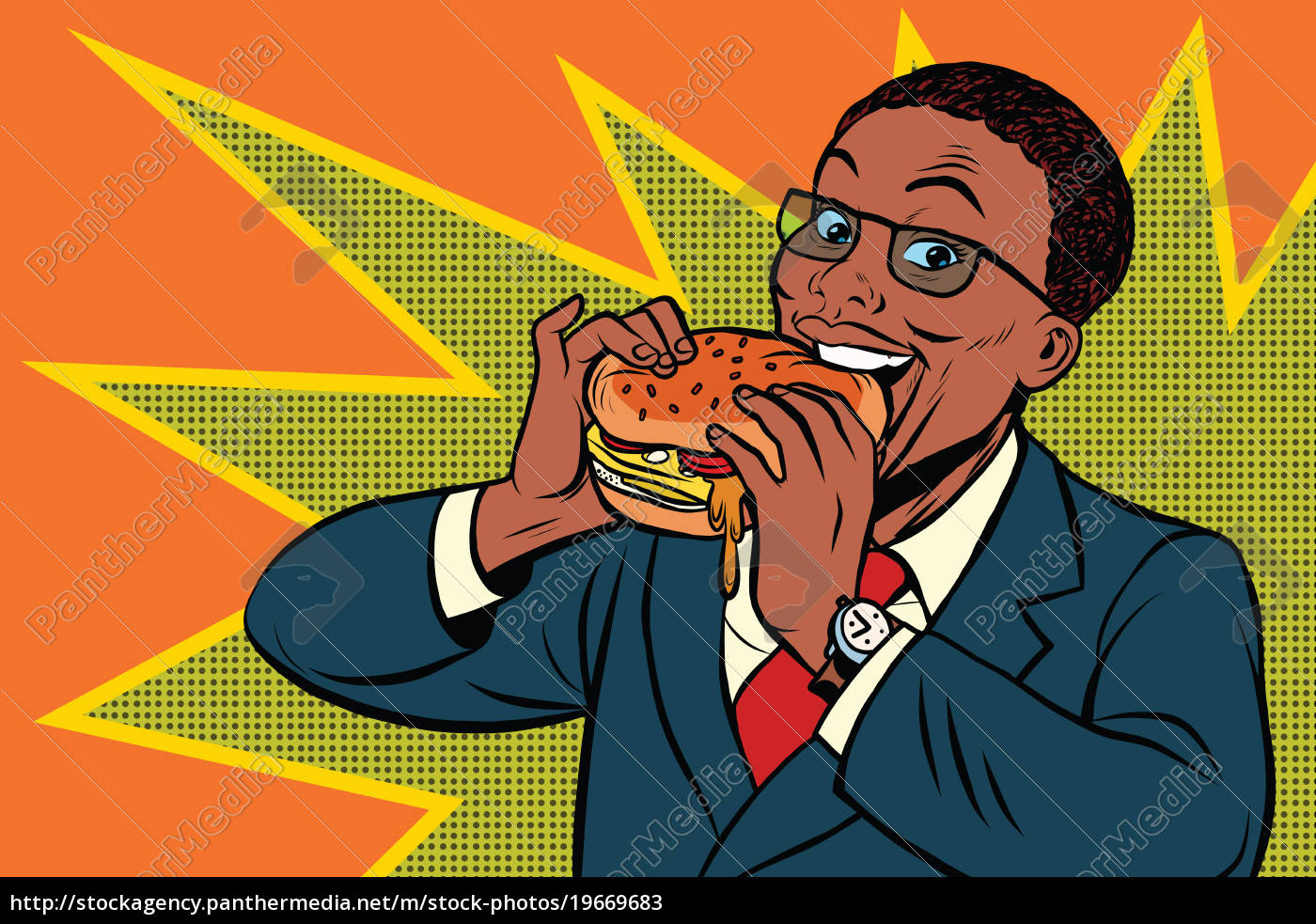 Royalty Free Image 19669683 Pop Art Man Eating A Burger
