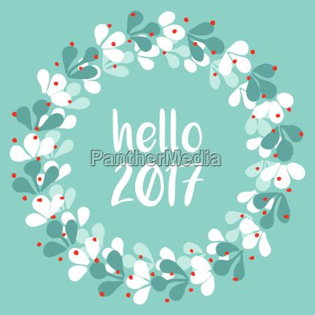 pastel laurel wreath hello new year