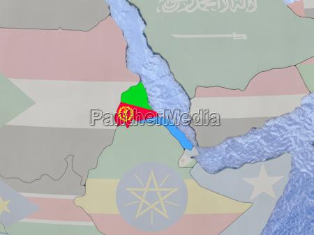 eritrea with flag on globe