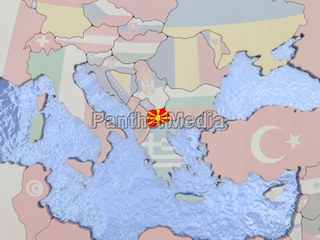 macedonia with flag on globe