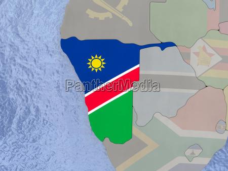 namibia with flag on globe